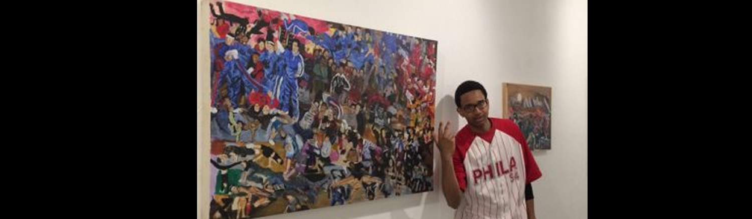 Jaither West exhibits his artwork at a local gallery